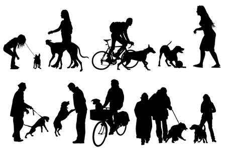 people with their dogs, collection Stock Vector - 4397772