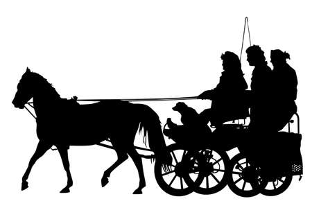 horse cart: horse and carriage silhouette