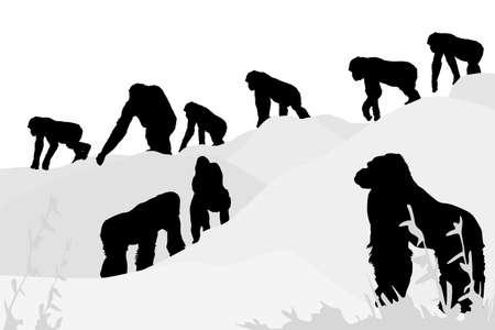 vector illustration of gorillas leaving