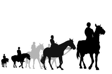 riding horse: illustration of teens on horseback riding trip Illustration