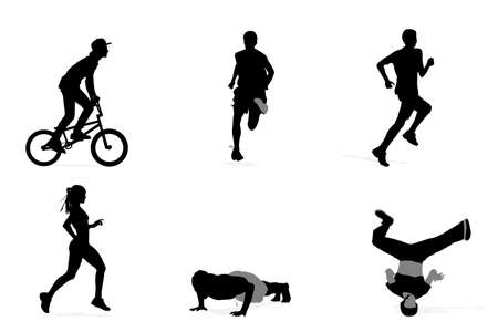 physically: six young athlete silhouettes, vector collection Illustration