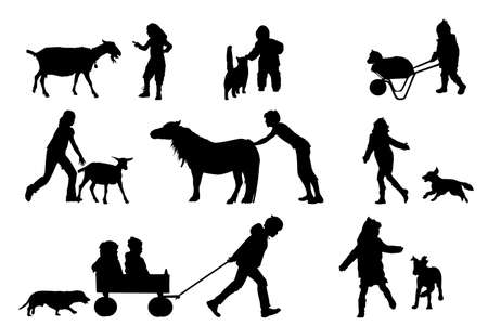 children playing with animals collection Stock Vector - 4509821