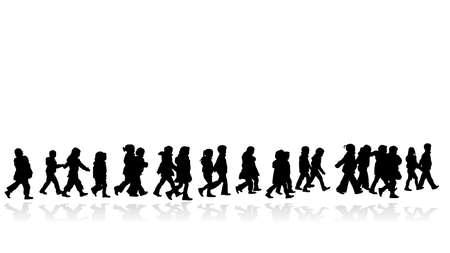 gruppo di ragazzi a piedi, in linea silhouette