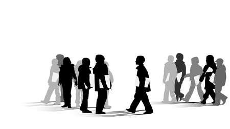 student boy: gruppo di giovani studenti silhouette