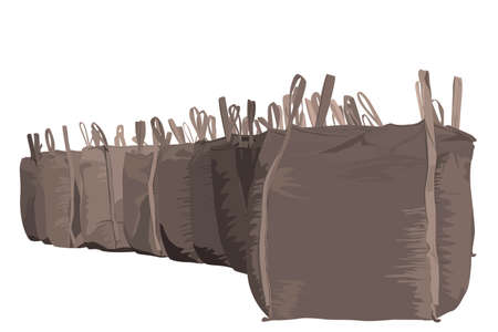heaviness: illustration of several heavy bags Illustration