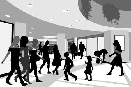 mall interior: shoppers in shopping center illustration