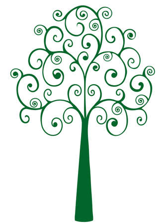 Stylized Coil Tree Vector Illustration