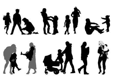 mother silhouettes collection for designers Stock Vector - 4585005