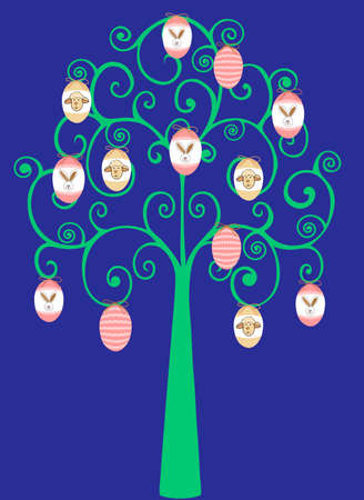 Swirl Tree Decorated with Easter Eggs Vector