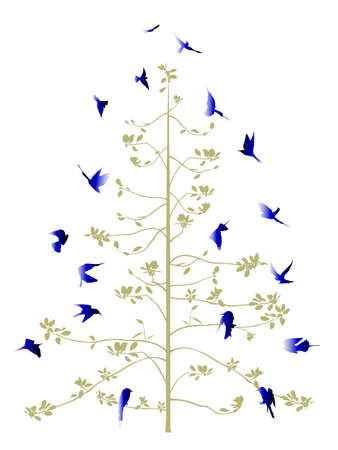aloft: spring tree decorated with blue birds  Illustration