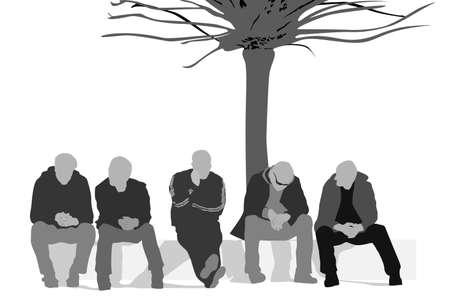 sentarse: personas sin trabajo Vectores