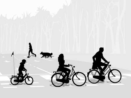 young family bicycling