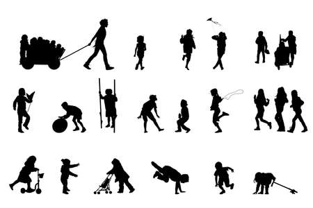 silhouettes of children: active kids, vector silhouette collection  Illustration