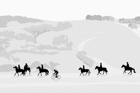 healthy path: illustration of horseback riding tour