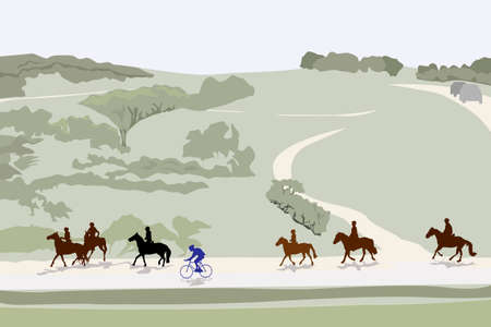 healthy path: illustration of horseback riding tour, color version