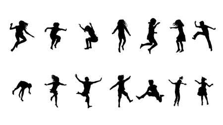 salti: felici i bambini saltare raccolta Vettoriali