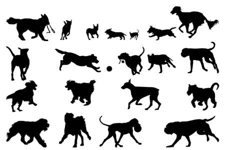 funny dogs: dog  running silhouettes, design elements