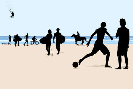 separate: illustration of beach vacation activities (people on separate layer)