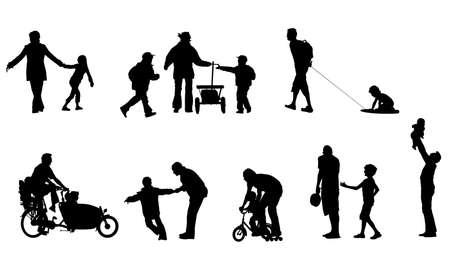 mums: ilustraci�n de los padres' s tiempo de calidad con los ni�os Vectores