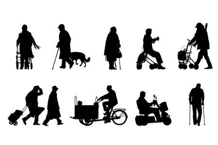 vieil homme assis: hauts silhouettes collection