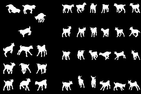 cabras: juguet�n beb� cabra siluetas colecci�n