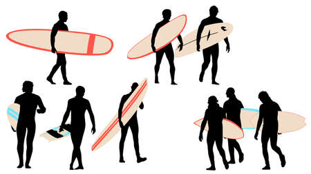 surfer silhouettes collection for designers Vector