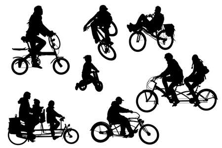 several different bicycle types collection Vector
