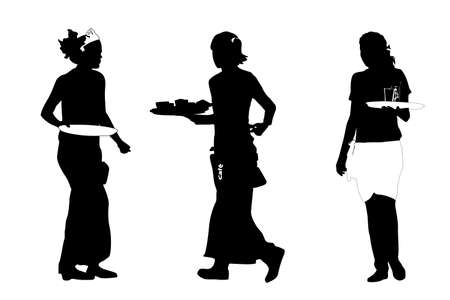 party tray: three busy waitresses, vector illustration Illustration