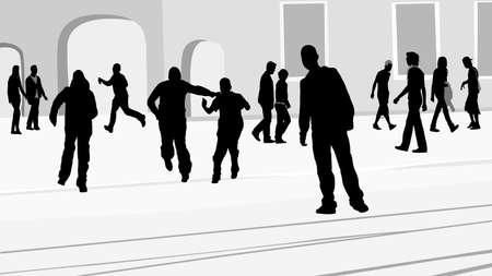 people on the sidewalk silhouette Stock Vector - 4787829