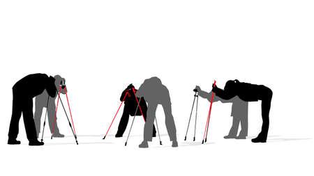 Nordic walkers exercising, vector illustration Vector