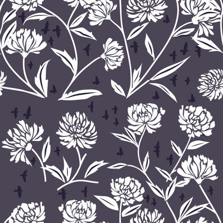 chrysanthemums: Decorative Scroll Pattern with Chrysanthemum Flowers on Blue Background