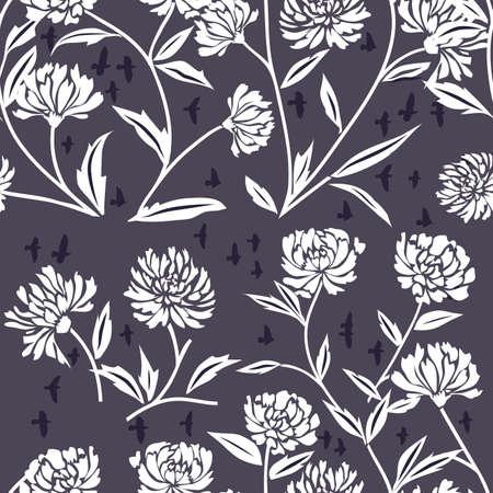 crisantemos: Vaya con el patr�n decorativo Chrysanthemum Flores sobre fondo azul Vectores