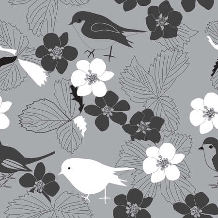 Seamless retro floral pattern with birds and leaves - vector illustration