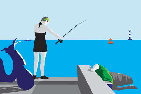 angling: couple angling, color vector illustration Illustration