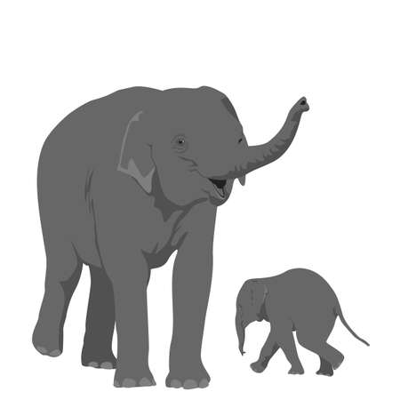 elephant mother  with her offspring Vector