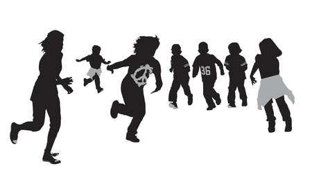 excited kids running, vector illustration
