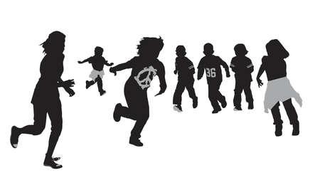 thrilled: excited kids running, vector illustration