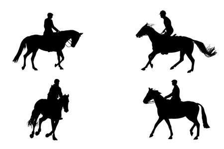 vier paardrijden silhouetten Vector Illustratie