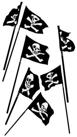 pirate flags with skull and crossbones waving, collection Vector