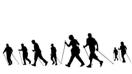 groep van nordic wandelaars, silhouetten