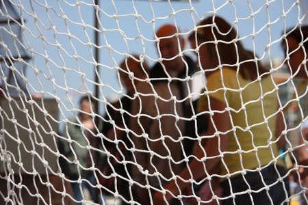 meshed: fishnet hanging Stock Photo