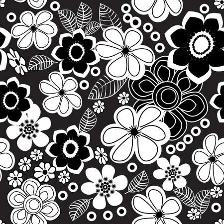 Floral Black and White Seamless  Pattern Illustration