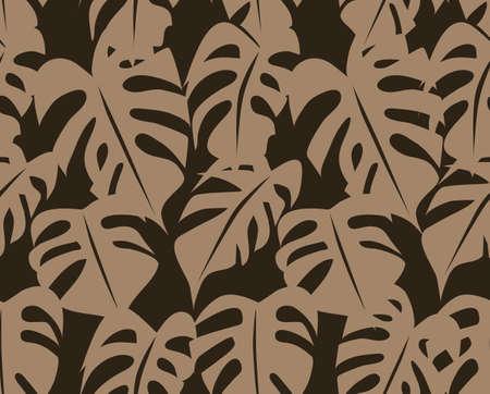 Tropical Retro Seamless Foliage Pattern Vector