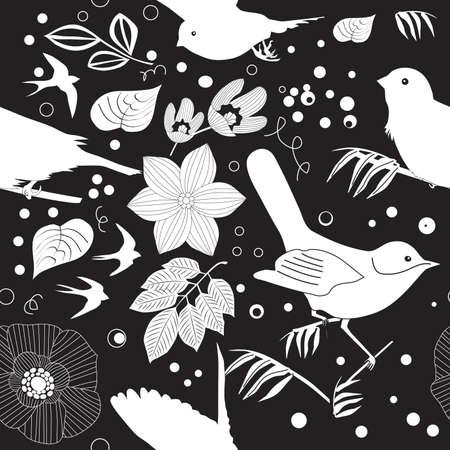 spring balance: Garden Retreat Seamless Pattern, Vector Illustration