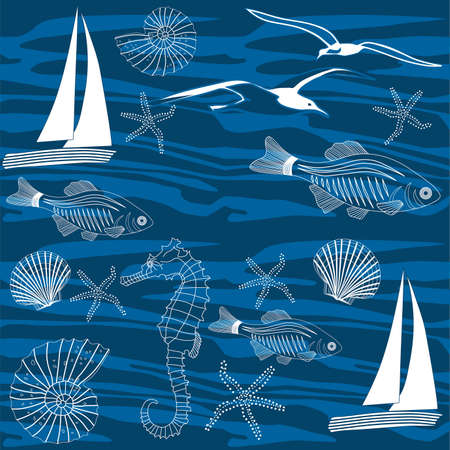 decore: ocean life seamless pattern,  vector Illustration