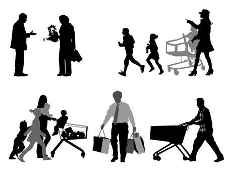 shopper silhouettes, collection for designers Vector