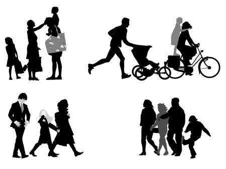 four young families, vector collection Vector
