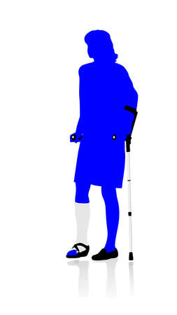 axillary: woman walking with crutches
