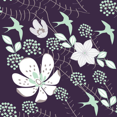 textile image: Summer Night,  Repeating Vector Illustration Illustration