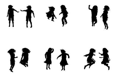 boy jumping: ni�os saltando de recogida, para que los dise�adores Vectores
